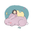 sleeping cartoon girl and cute bunny vector image vector image