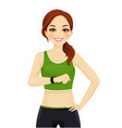 sport woman with smart watch vector image