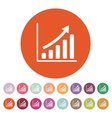 The growing graph icon Progress symbol Flat vector image vector image