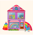 toy shop exterior market building cartoon flat vector image
