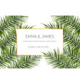 tropical jungle palm tree leaves card vector image