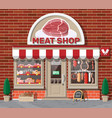 Vintage butcher shop store facade with storefront
