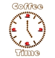 Watch made of coffee beans vector image vector image