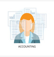 Accounting Icon with businesswoman vector image