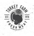 turkey farm badge or label vector image