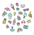 set of bright cute pins vector image