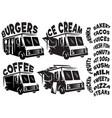 set of mobile shop vans food trucks with vector image