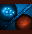 ai robot and human brain over blue background vector image
