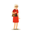 beautiful senior woman in red dress colorful vector image vector image