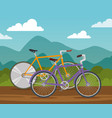 bicycles lifestyle transport vehicle to ride vector image