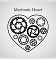 black silhouette valentine heart postcard vector image