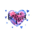 Bonjour Paris card with watercolor hearts vector image vector image