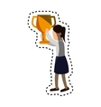 businesswoman character avatar with trophy vector image