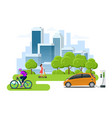 bycicle rental scooter rental car rental city vector image vector image
