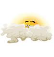 cartoon asleep sun character vector image