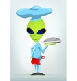 Cartoon French waiter Alien vector image vector image