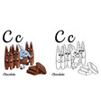 chocolate alphabet letter c coloring page vector image