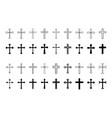 christian cross icons set vector image