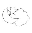 cloud with moon weather icon vector image vector image