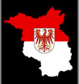 coat arms on brandenburg flag silhouette vector image vector image