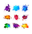colorful ink splashing element set vector image
