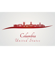 Columbia MO skyline in red vector image vector image