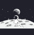 cute astronaut walking on moon vector image