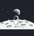 cute astronaut walking on moon vector image vector image