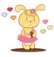 Cute bunny with chocolate and hearts vector image
