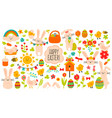 cute easter elements spring easter vector image