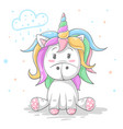 cute teddy color unicorn cool vector image