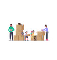 family moving into a new house vector image vector image