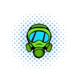 Gas mask icon comics style vector image