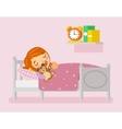 girl sleeping in bed flat vector image