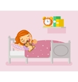 Girl sleeping in the bed flat vector image vector image