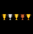 goblets collection gold silver bronze vector image