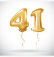 golden 41 number forty one metallic balloon party vector image vector image
