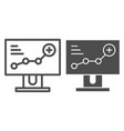 Growth chart on monitor line and glyph icon
