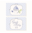 Hand drawn blueberry cupcake business cards vector image vector image