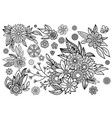 hand drawn leaves and flowers vector image