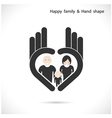 Hand icon and happy family concept