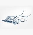 hands piano keys synthesizer sketch line design vector image