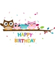 Happy owl family celebrate birthday vector image vector image