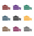 hotel icon in black style isolated on white vector image