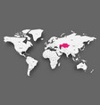 kazakhstan pink highlighted in map of world light vector image vector image