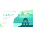 landscape with mountains forest river gazebo vector image vector image