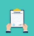 man hold license checklist holding clipboard vector image