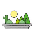 mountains with cactus and plants with sun vector image vector image