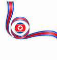 north korean wavy flag background vector image vector image