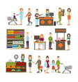 people making purchases flat icon set vector image